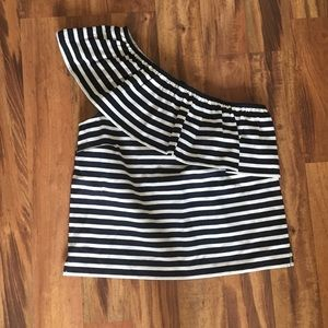 j. Crew Striped One Shoulder Top Size Small